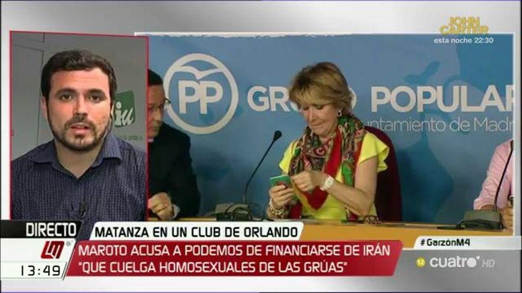 """A. Garzón, de las palabras de Aguirre: """"Me parece un despropósito injustificable"""""""