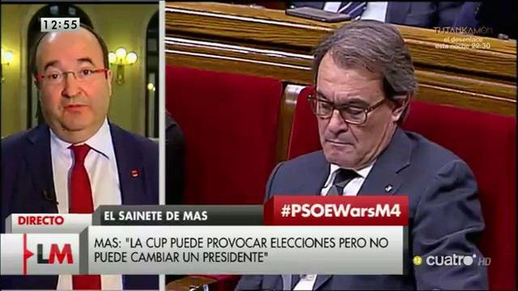 """Miquel Iceta: """"Quien le ha dado el poder a la CUP, aparte de los electores, es Artur Mas"""""""