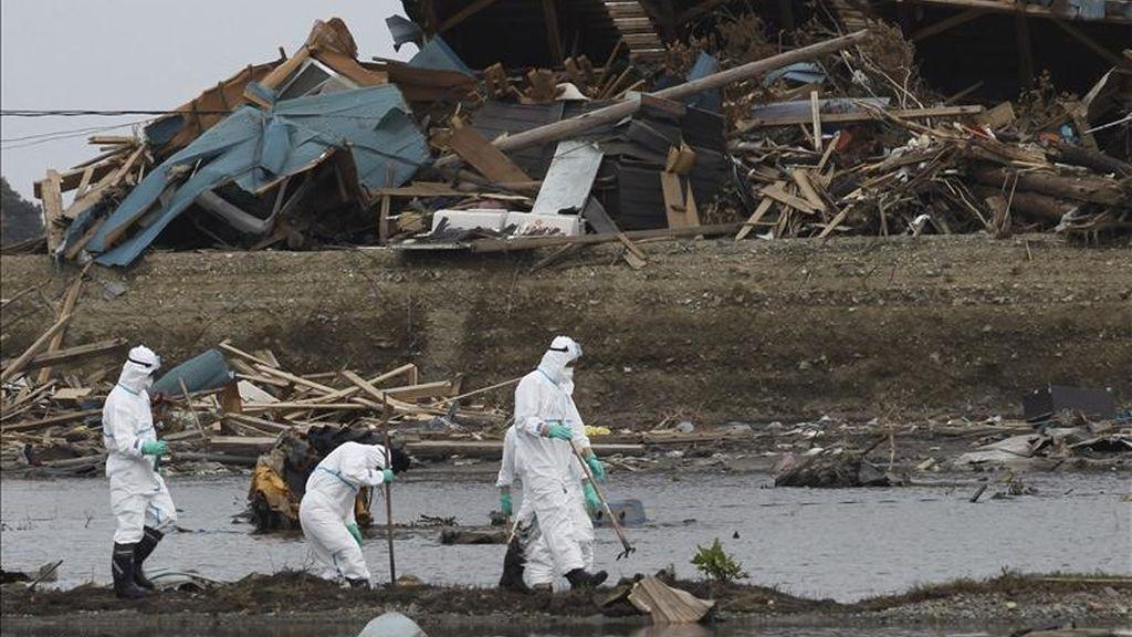 Miembros de los servicios de rescate buscan cadáveres de las personas desaparecidas en la ciudad de Futaba, a espaldas de la central nuclear de Fukushima, en la prefectura de Fukushima (Japón). EFE/Archivo