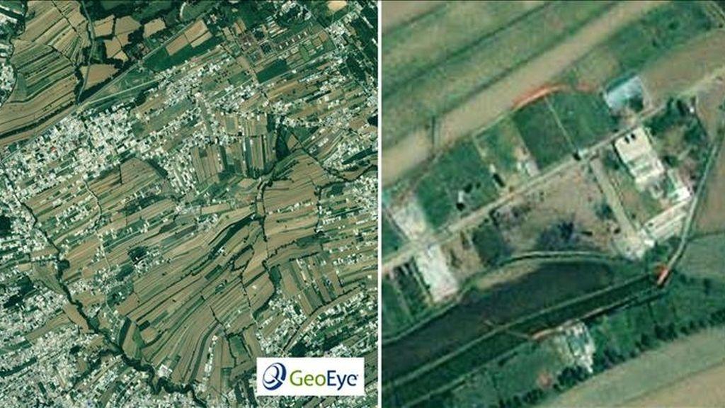 Combo de imágenes cedidas por GeoEye que muestran la edificación amurallada en Abbottabad, Pakistán, donde el jefe de Al Qaeda, Osama bin Laden, fue muerto por tropas estadounidenses. Las imágenes fueron recogidas por el satélite IKONOS. EFE/GEOEY