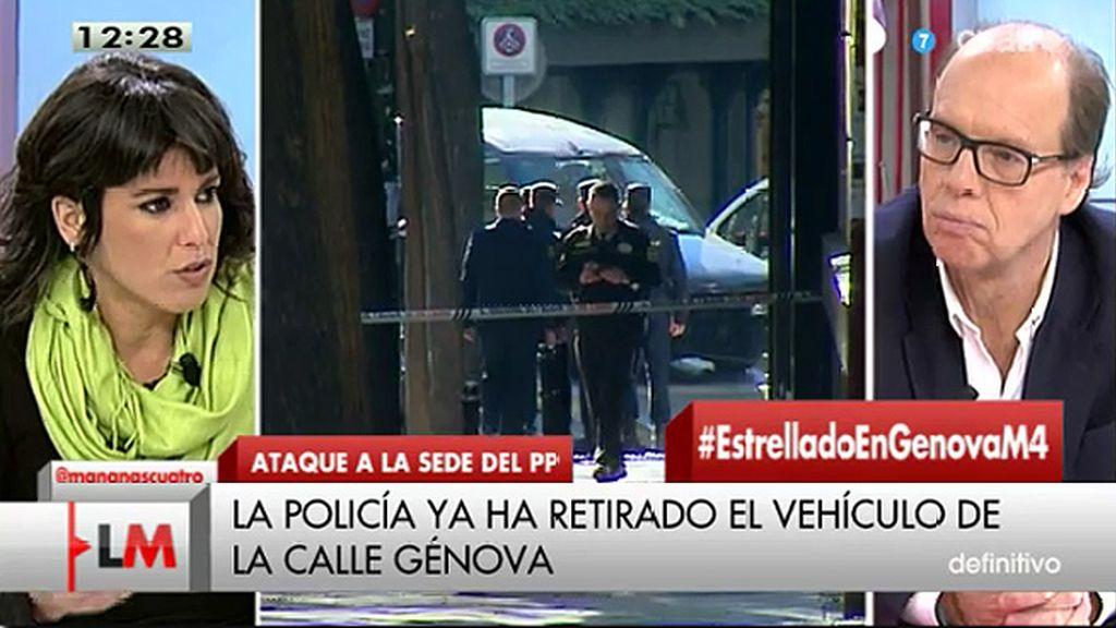 """T. Rodríguez, sobre el ataque a la sede del PP: """"Es una noticia pésima que tiene que ver con la desesperación que se está generado"""""""