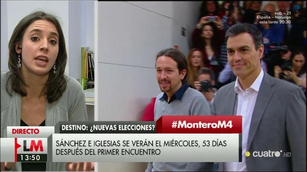 """Irene Montero: """"Pedro y Pablo tienen muchas posibilidades de formar gobierno"""""""