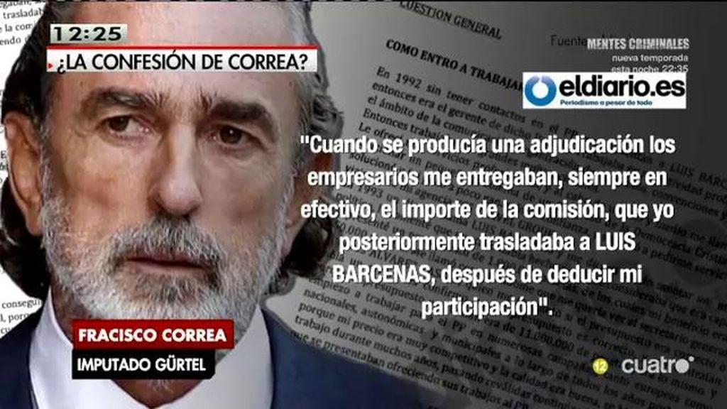 Correa confiesa que cobraba el 3% en nombre de Bárcenas y el PP, según publica Eldiario.es