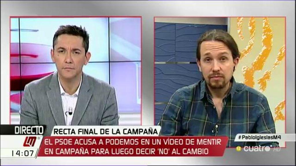 """Iglesias: """"Creo que al PSOE no le va a ir muy bien en las urnas si insiste en decir que el problema no es Rajoy sino nosotros"""""""