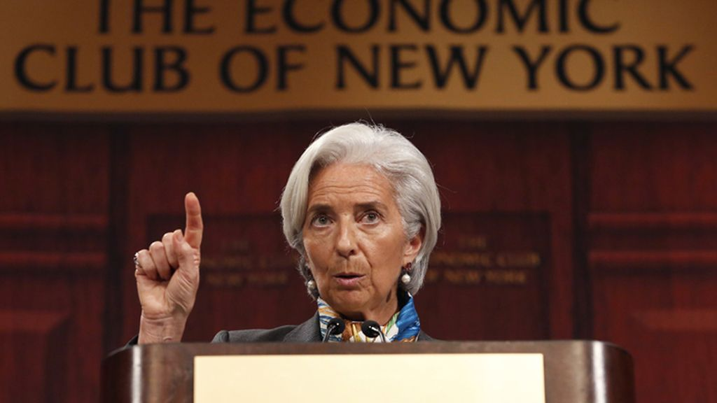 Christine Lagarde durante un discurso en el Club Económico de Nueva York