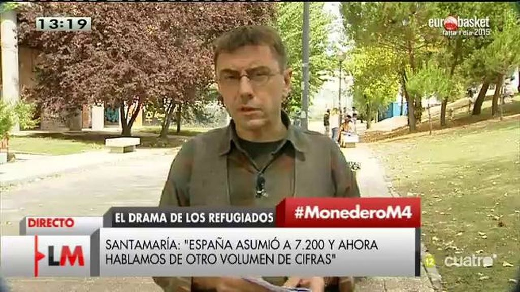 """Monedero: """"Si Santamaría tuviera un poco de vergüenza, en lugar utilizar 200 millones como propaganda, ayudaría a los refugiados"""""""