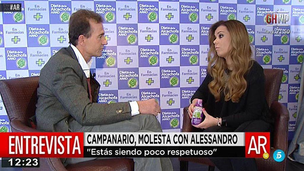 Campanario se enfada con Alessandro Lequio por preguntarle por Andrea