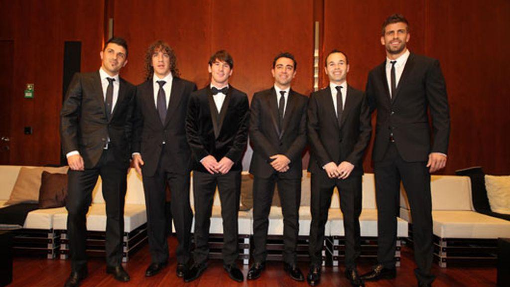 2010: Con sus compañeros del Barça en la entrega del Balón de Oro
