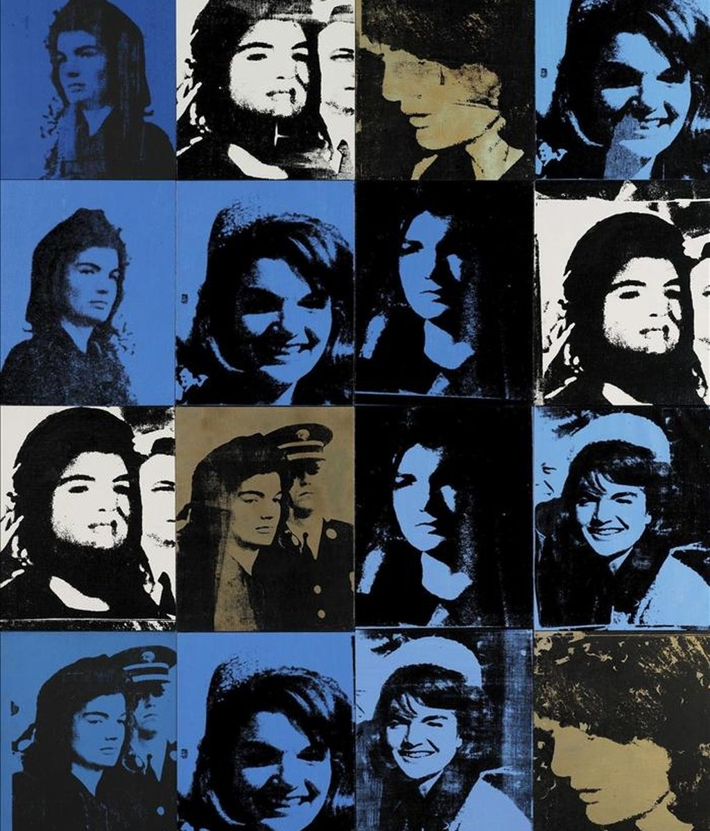 """Imagen facilitada por la casa de subastas Sotheby's  en Londres, Inglaterra, que muestra la serigrafía """"Sixteen Jackies"""", hecho por el artista Andy Warhol en 1964. EFE/SOTHEBYS"""