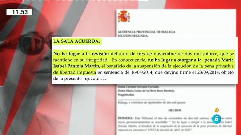 El juez vuelve a denegar a Isabel Pantoja la suspensión de su condena