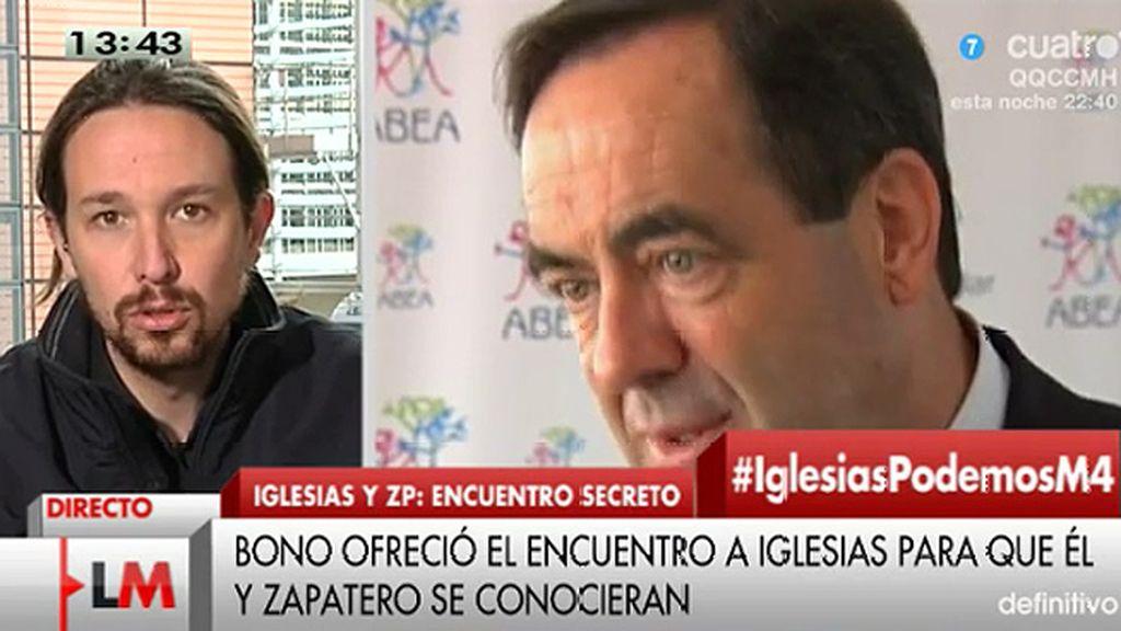Pablo Iglesias confirma que, junto a Errejón, se reunió con Bono y Zapatero