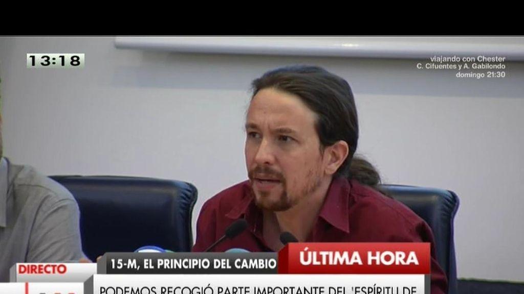 """P. Iglesias:""""El '15 M' puso sobre la mesa los ingredientes del cambio político"""""""