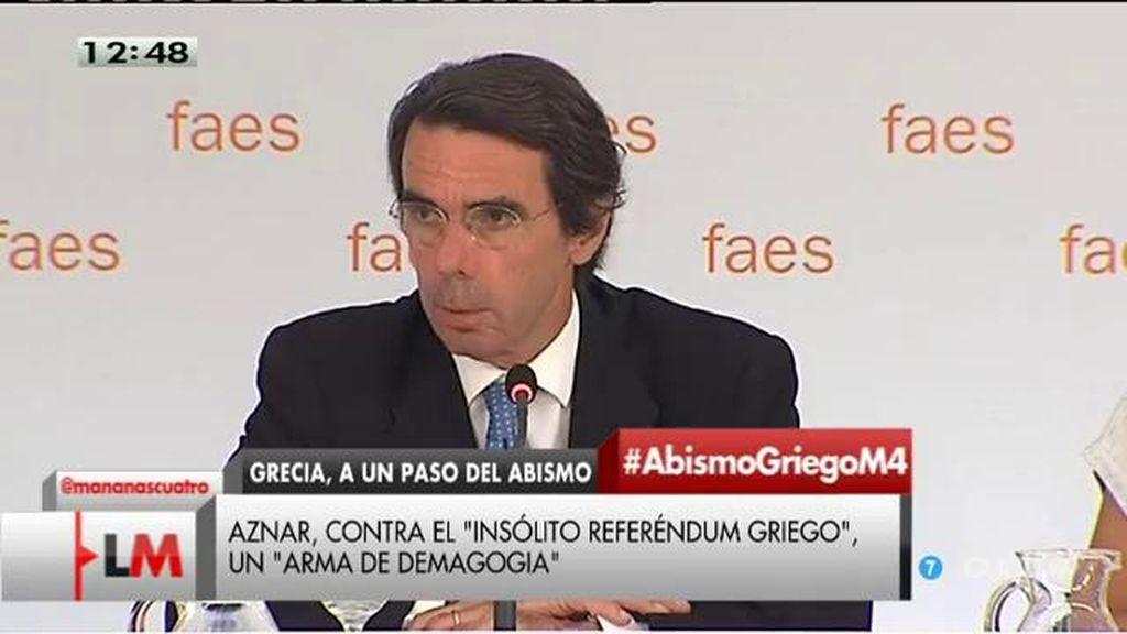 """Aznar: """"Hoy, los bancos no abren en Grecia, no se podrá decir que no estemos avisados"""""""