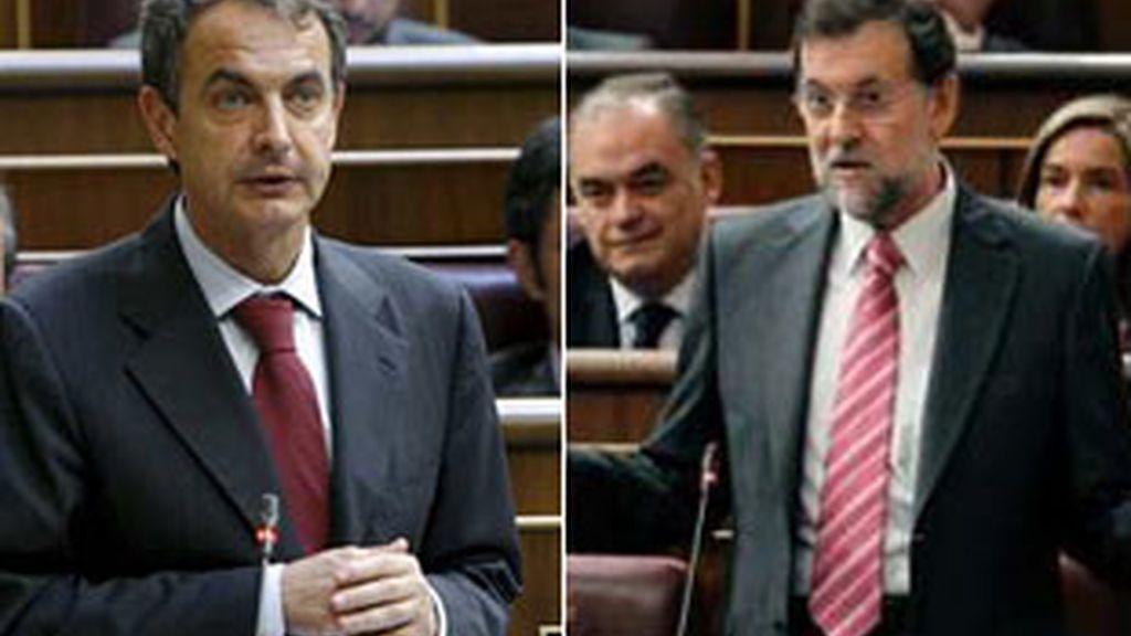 El presidente del Gobierno, José Luis Rodríguez Zapatero, y el líder del PP, Mariano Rajoy.