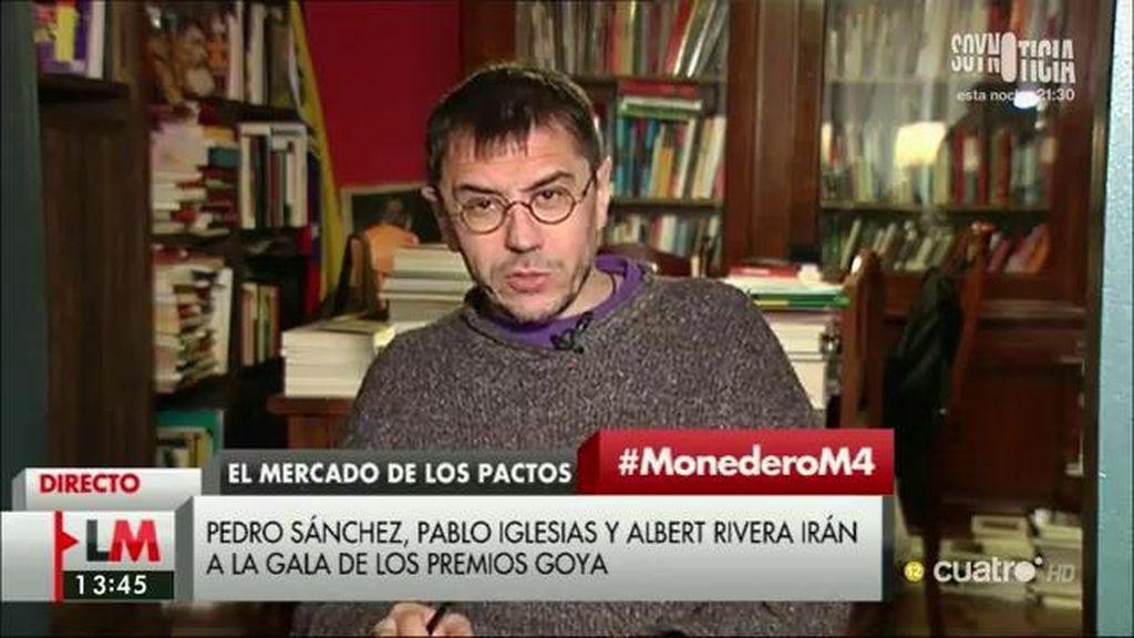 """Monedero: """"Creo que estamos dejando fuera de foco a dos de las personas responsables de parte de lo que ocurre, Aznar y Aguirre"""""""