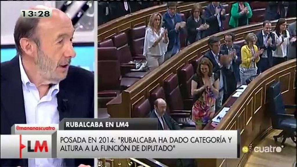 """Rubalcaba, de su marcha: """"Le dije a Rajoy, te hago un favor y una faena, porque te coloco como el más viejo de la aldea"""""""