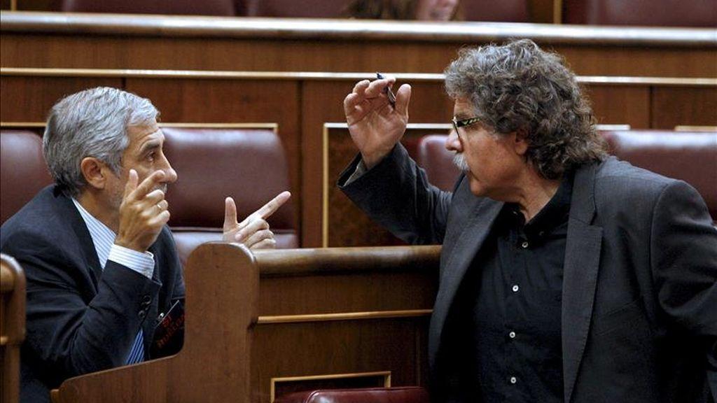 Los diputados Gaspar Llamazares (izda), de IU, y Joan Tardá, de ERC, conversan durante un pleno del Congreso. EFE/Archivo