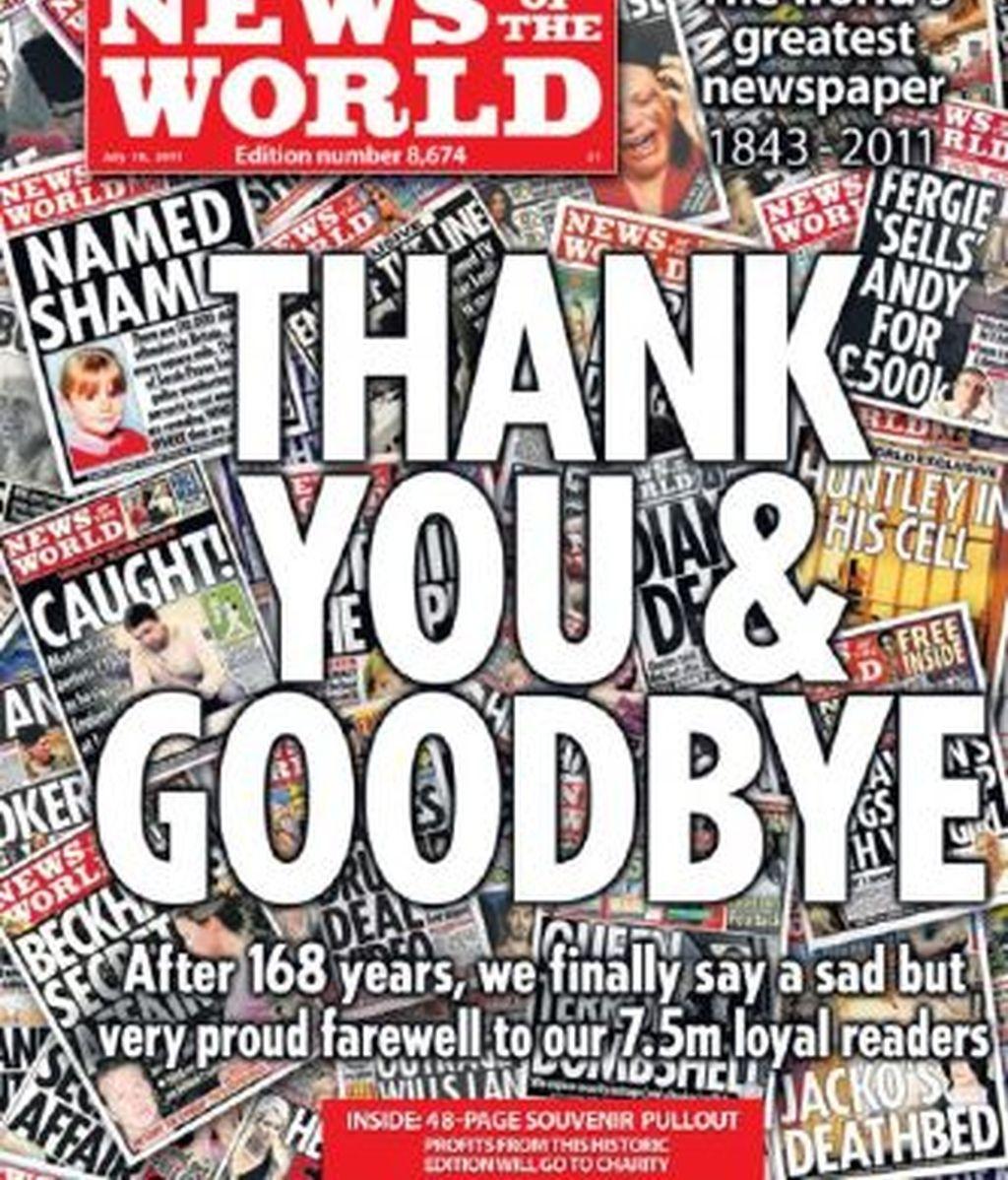 La última portada de 'News of the World', el tabloide de Rupert Murdoch que cerró tras el escándalo de los pinchazos telefónicos a personas para conseguir exclusivas.