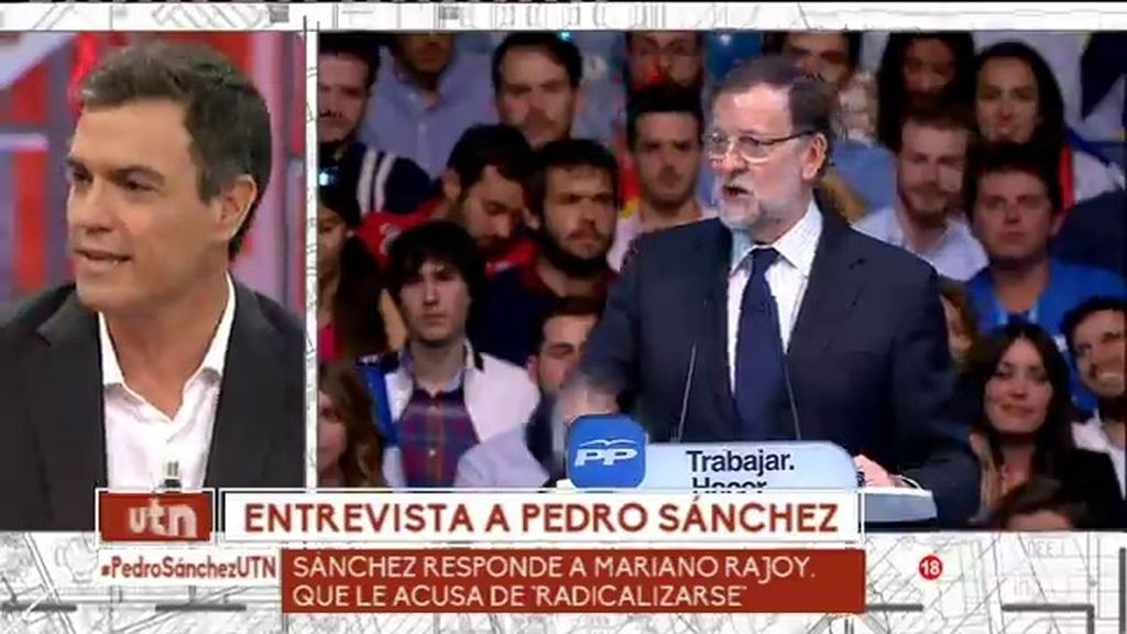 Pedro Sánchez responde a Mariano Rajoy tras acusarle de 'radicalizarse'