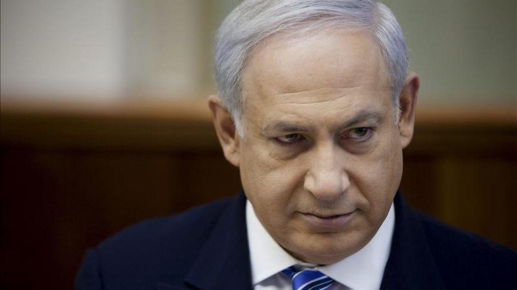 El primer ministro israelí Benjamin Netanyahu en la reunión semanal del Consejo de Ministros en Israel hoy, domingo, 17 de abril de 2011. EFE