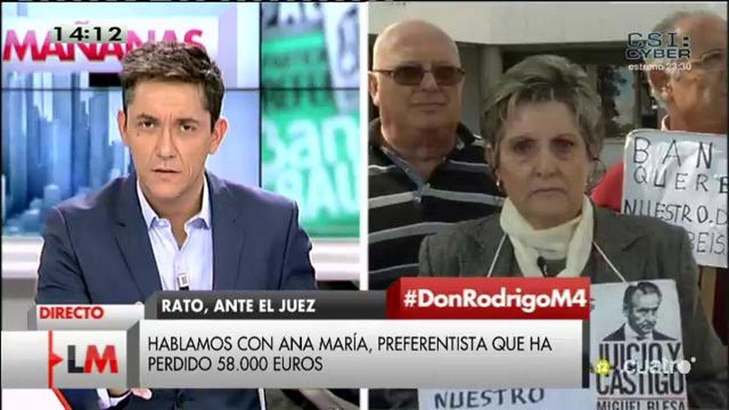 """Ana Mª, sobre Rato: """"Nos han robado nuestro dinero, ¿cómo pueden dejarlo en libertad?"""