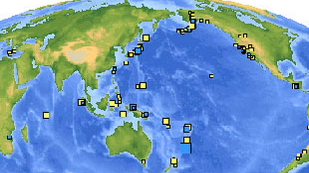 Puntos geográficos donde se han detectado movimientos de tierra en las últimas 24 horas FOTO: USGS