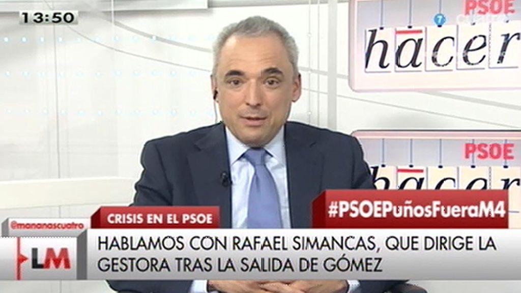 """Simancas: """"Pedro Sánchez no puede ver el telediario sin más y no adoptar decisiones"""""""