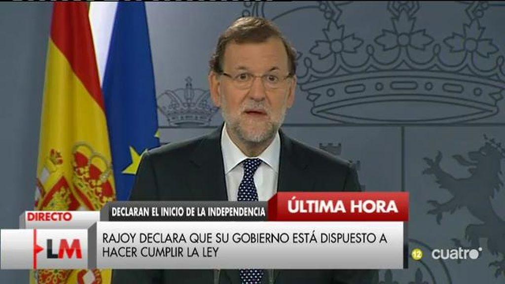 Declaracion institucional de Rajoy frente a la  propuesta de Junts pel Sí y CUP de declarar el inicio de la independencia