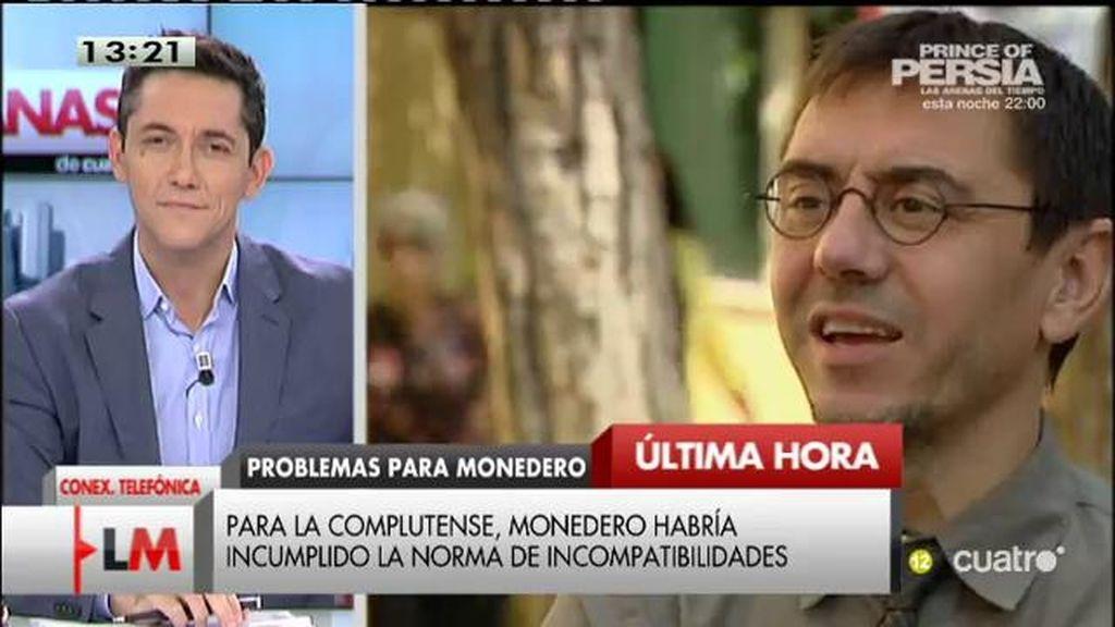 """Monedero niega las acusaciones: """"Podemos está disputando la posibilidad de gobernar y en estos dos meses van a ir con todo"""""""