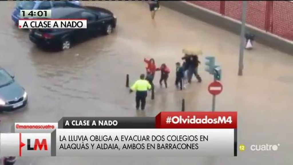 Evacuados del colegio: Varios centros provisionales en Alacàs y Aldaia suspenden las clases tras las intensas lluvias