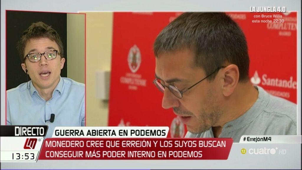 """Errrejón: """"Monedero está desconectado de las bases y los votantes de Podemos"""""""