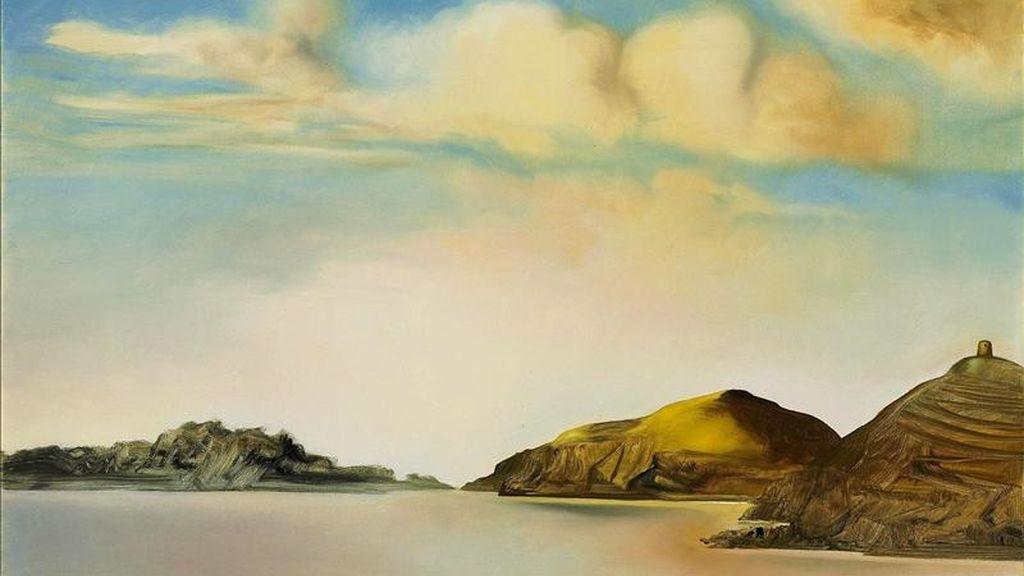 """Imagen facilitada por Christie's Images Ltd del estudio para """"La miel es más dulce que la sangre"""", de Salvador Dalí, que forman parte de la subasta de arte moderno, que tendrá lugar el próximo 9 de febrero, en Christie's de Londres. En la imagen, """"Port Lligat al atardecer"""", que muestra el modesto puertecito de pescadores de Cataluña donde se establecieron Dalí y Gala en 1930. EFE"""