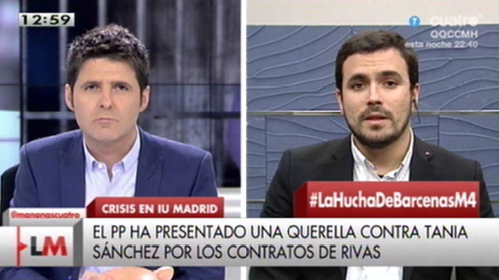 """A. Garzón: """"Tania Sánchez tiene que seguir combatiendo a la mafia de Madrid, aunque siga poniéndole palos en las ruedas"""""""