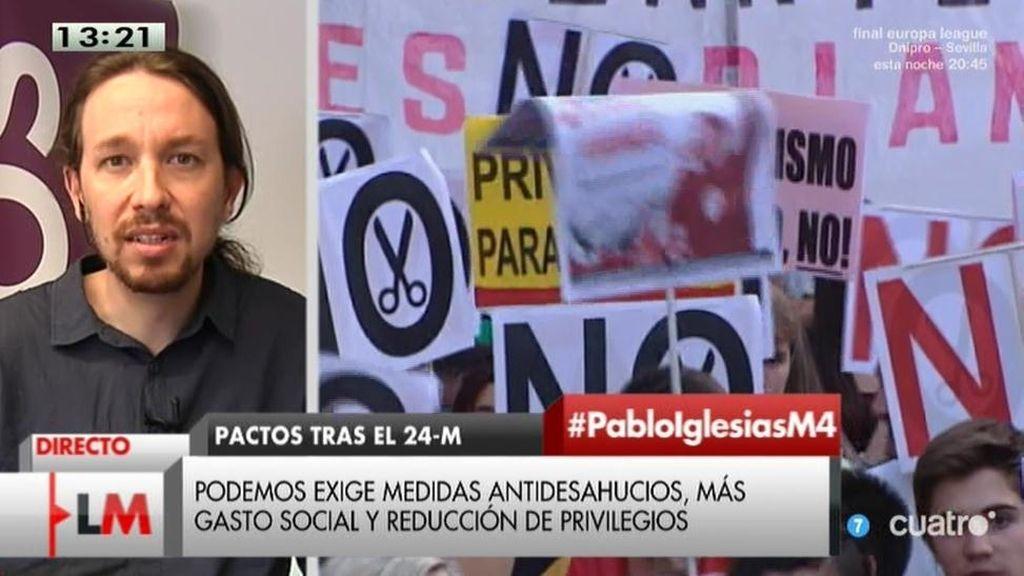 """Pablo Iglesias: """"Lo primero que van a hacer nuestros diputados es bajarse el sueldo"""""""