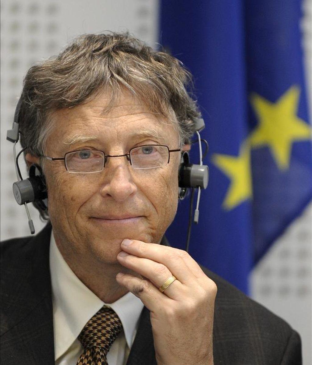 """El cofundador de Microsoft y filántropo Bill Gates asiste a la sesión plenaria del Parlamento Europeo, donde presentó la campaña """"Living Proof"""" sobre el impacto positivo de las inversiones en desarrollo, en Estrasburgo (Francia). EFE"""