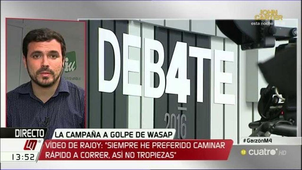 """Alberto Garzón, sobre el debate """"Estamos muy contentos y cómodos con esta confluencia y repartimos los roles"""""""