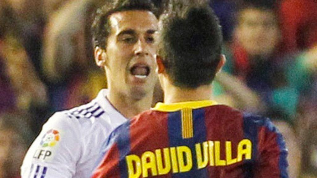 Álvaro Arbeloa y David Villa
