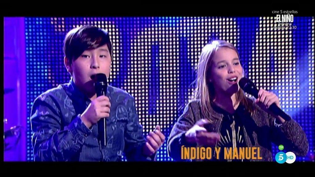 Índigo y Manuel, de 'La Voz Kids', sorprenden a Rosario Flores con una actuación