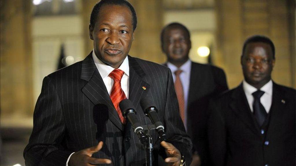 El presidente de Burkina Faso, Blaise Compaoré, durante una rueda de prensa. EFE/Archivo