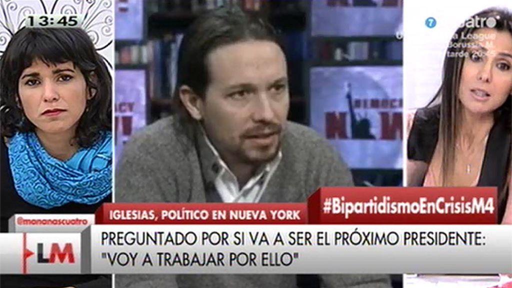 """T. Rodríguez (Podemos): """"Se diga en Wall Street o en una plaza, el mensaje es el mismo, la necesidad de un cambio"""""""