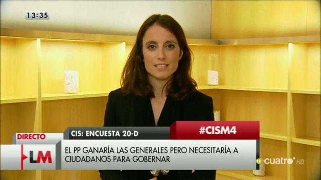 """Andrea Levy valora los datos del CIS: """"El PP puede gobernar en minoría y hacer acuerdos parlamentarios"""""""