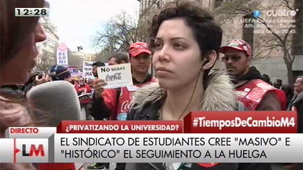 """Ana García (sindicato de estudiantes): """"No aceptamos que nos arrebaten la universidad pública"""""""