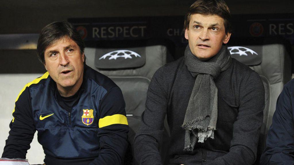 Vilanova y Roura, durante el partido ante el Bayern
