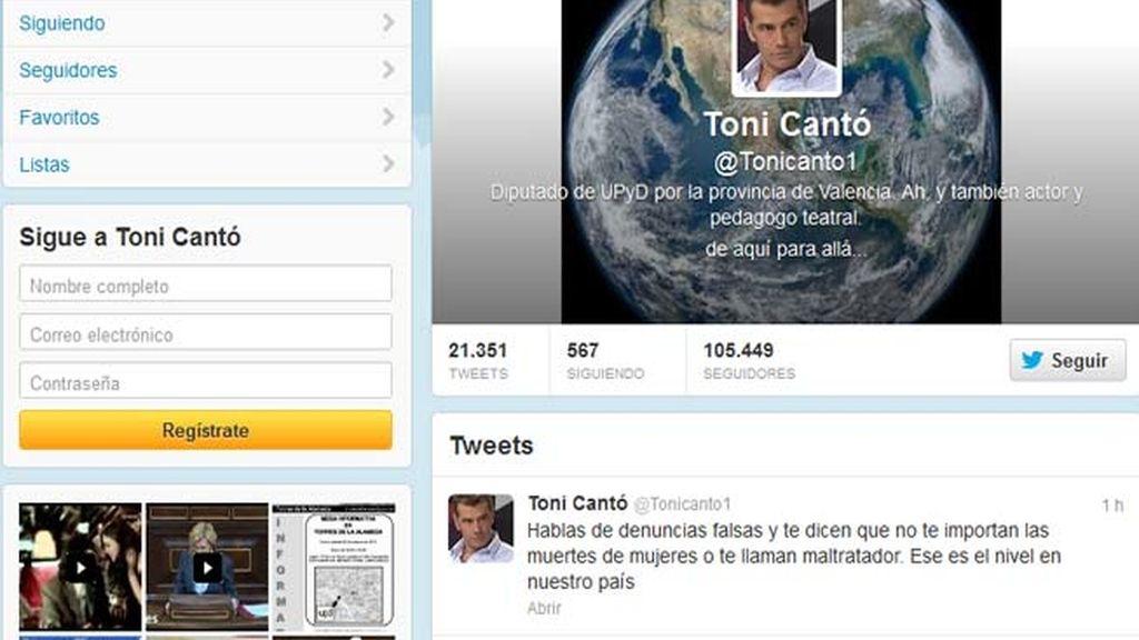 """Toni Cantó afirma en Twitter que """"la mayoría de las denuncias por violencia de género son falsas"""""""