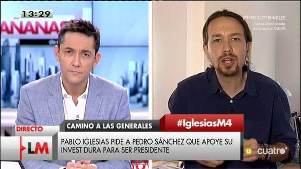 """Pablo Iglesias: """"Queremos ser la lista más votada. Estoy convencido de que la gente del PSOE va a decir 'mejor con Podemos"""""""