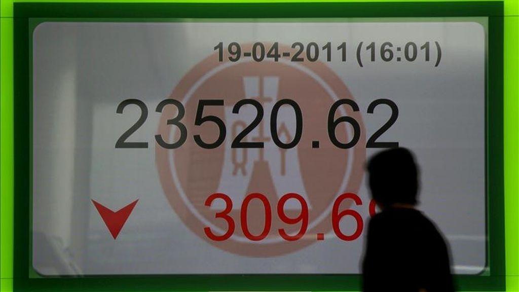 Una mujer pasa delante de un panel electrónico que muestra el valor alcanzado por el índice Hang Seng de la Bolsa de Hong Kong. EFE/Archivo