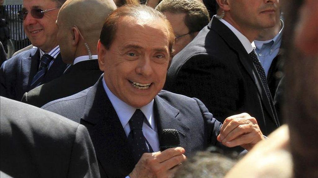 El primer ministro italiano, Silvio Berlusconi, el pasado 11 de abril de Milán. EFE/Archivo