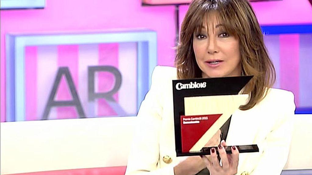 Ana Rosa, premiada por contribuir a la formación de una opinión pública libre