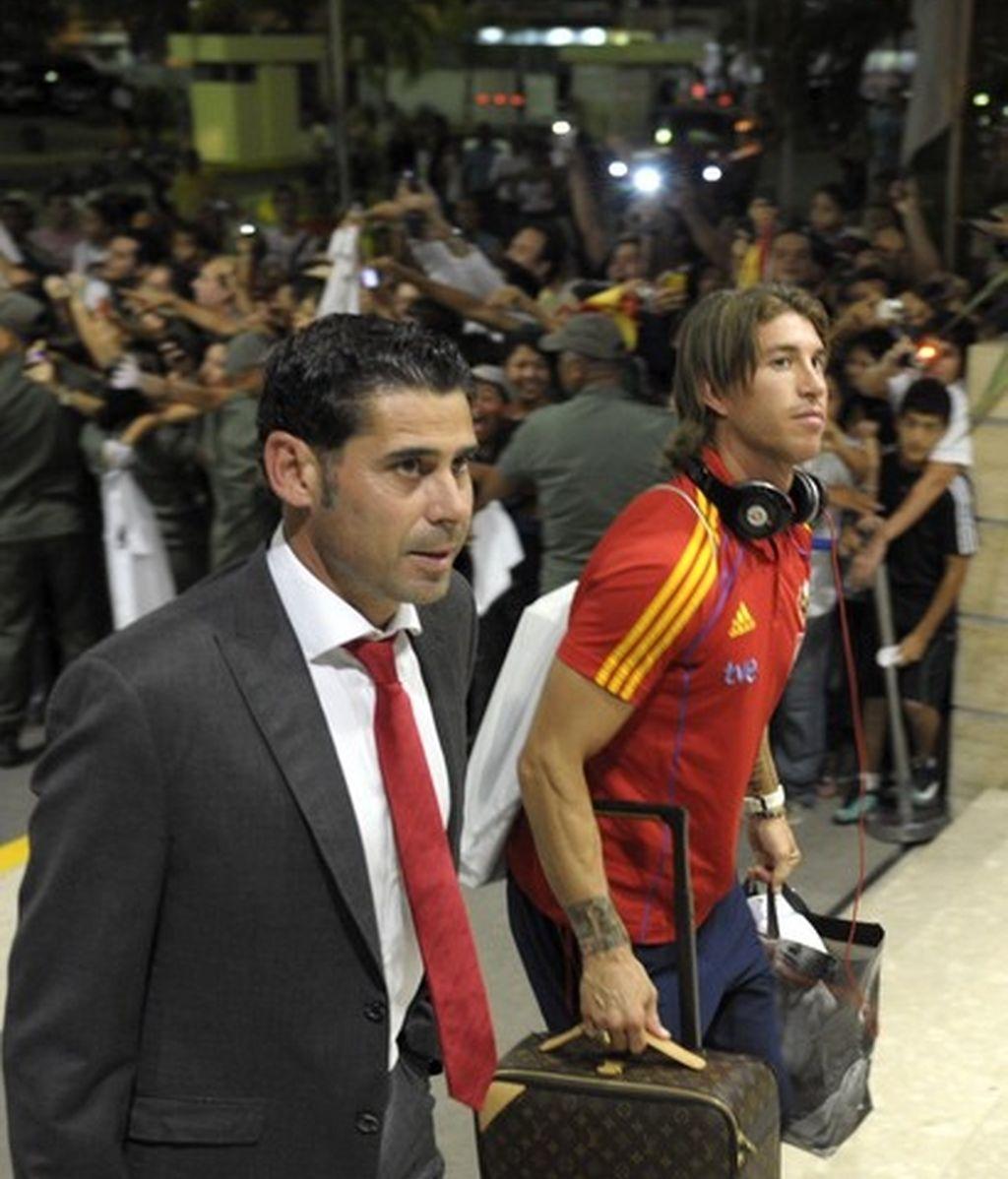 Fernando Hierro en una imagen de archivo, junto a Sergio Ramos