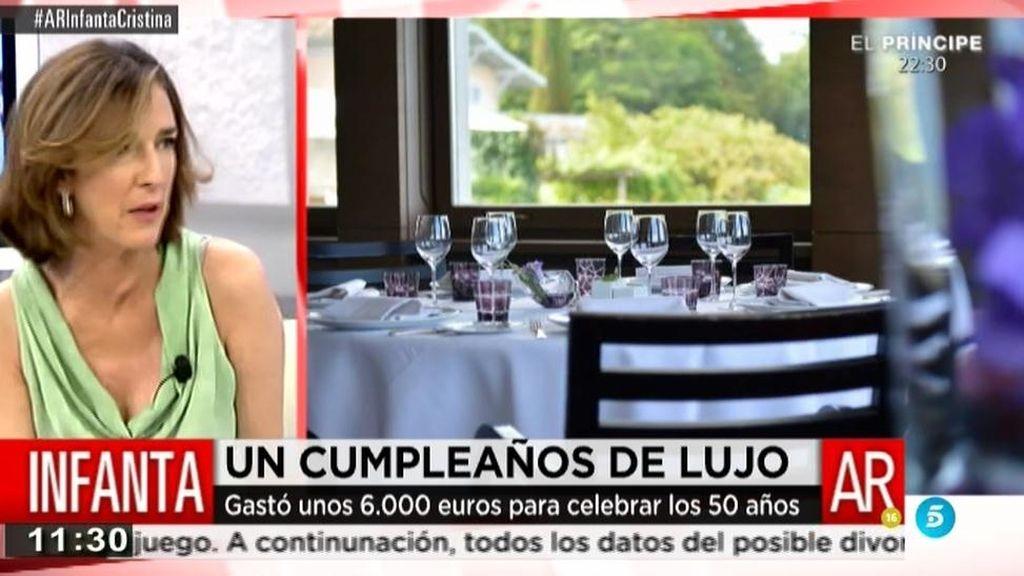 La infanta Cristina gastó unos 6.000 euros para celebrar sus 50 años